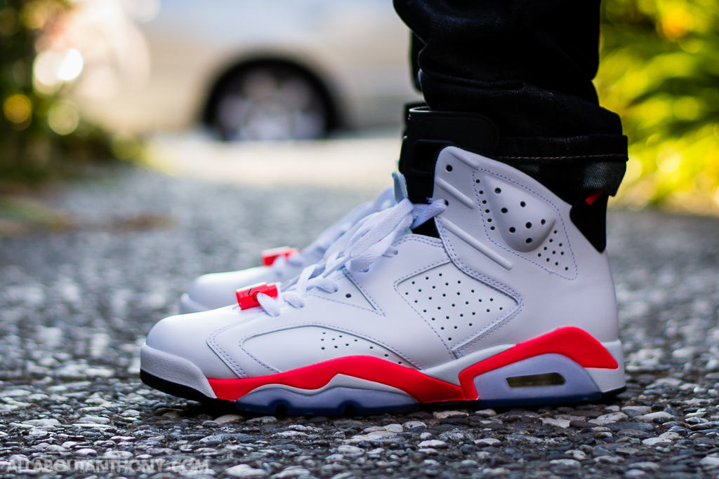 newest 79ac4 fbba9 air jordan 6 white infrared on feet