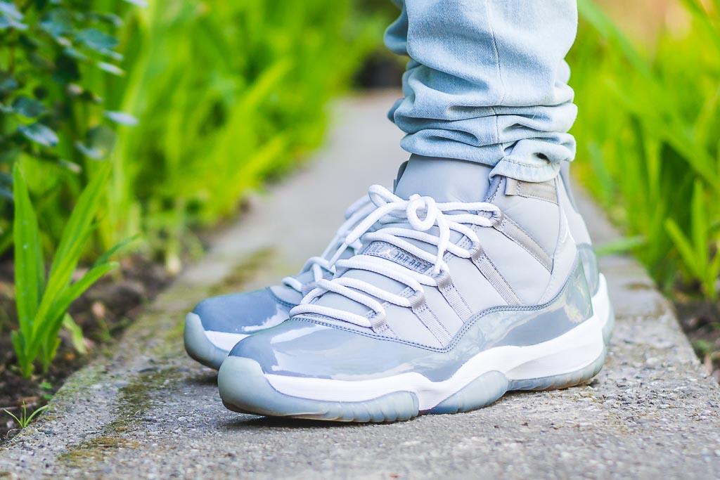 Air Jordan XI Cool Grey On Feet on foot photo
