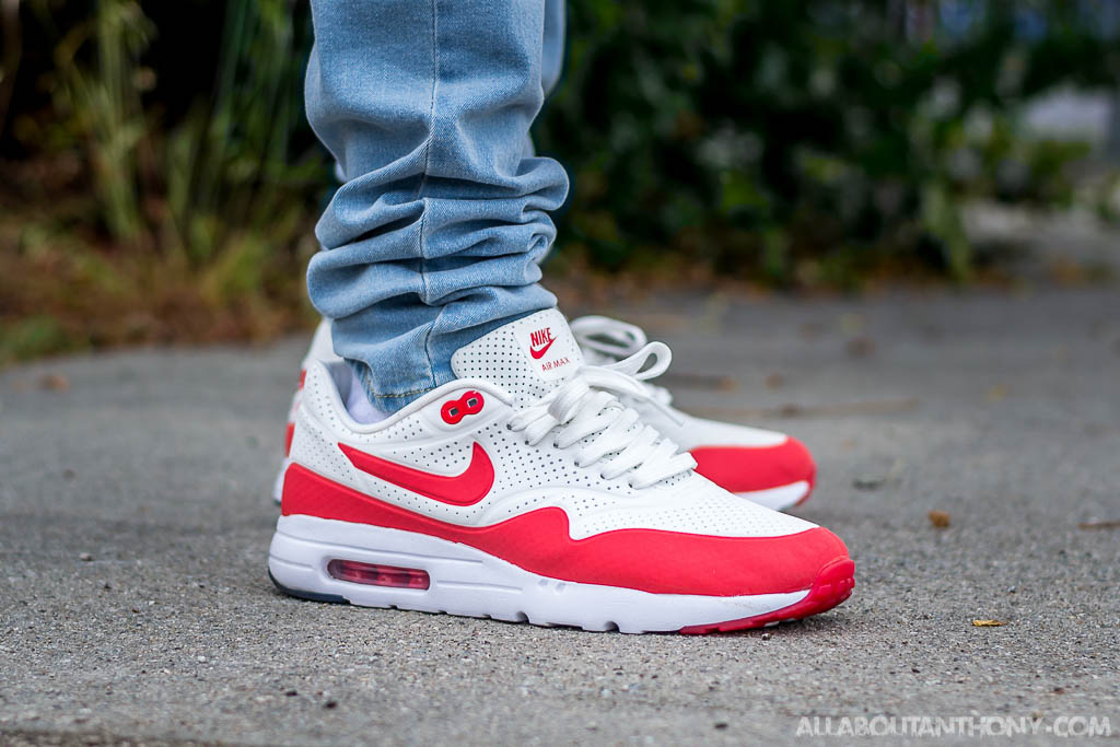 new concept 3ae0f 8f77c Nike Air Max 1 Ultra Moire White Red On Feet Review