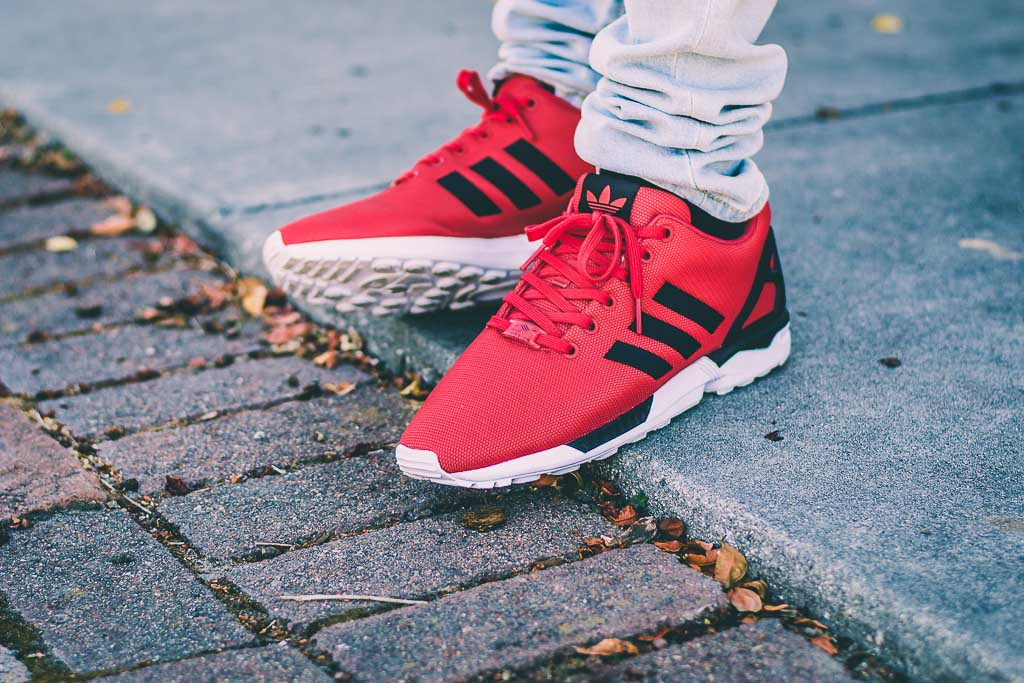 2788f82baf8ea Adidas ZX Flux Red and Black On Feet Sneaker Review