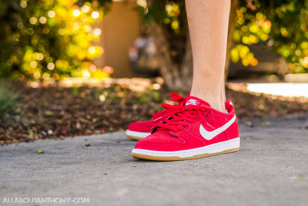 4feace967947a5 Nike SB Dunk Low Pro Ishod Wair Shoe university red white suede  nike dunk  low pro iw university red on feet