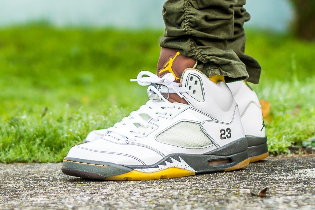 Air Jordan V Dark Army On Feet Sneaker