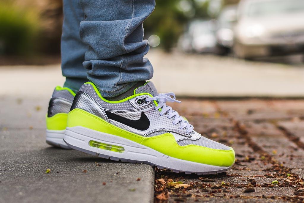 Nike Air Max 1 FB Silver Volt On Feet Sneaker Review
