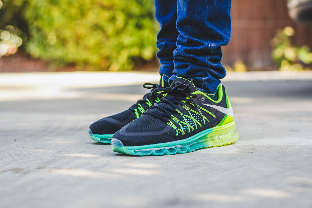 Nike Air Max 2015 Volt Hyper Jade On Feet on foot photo