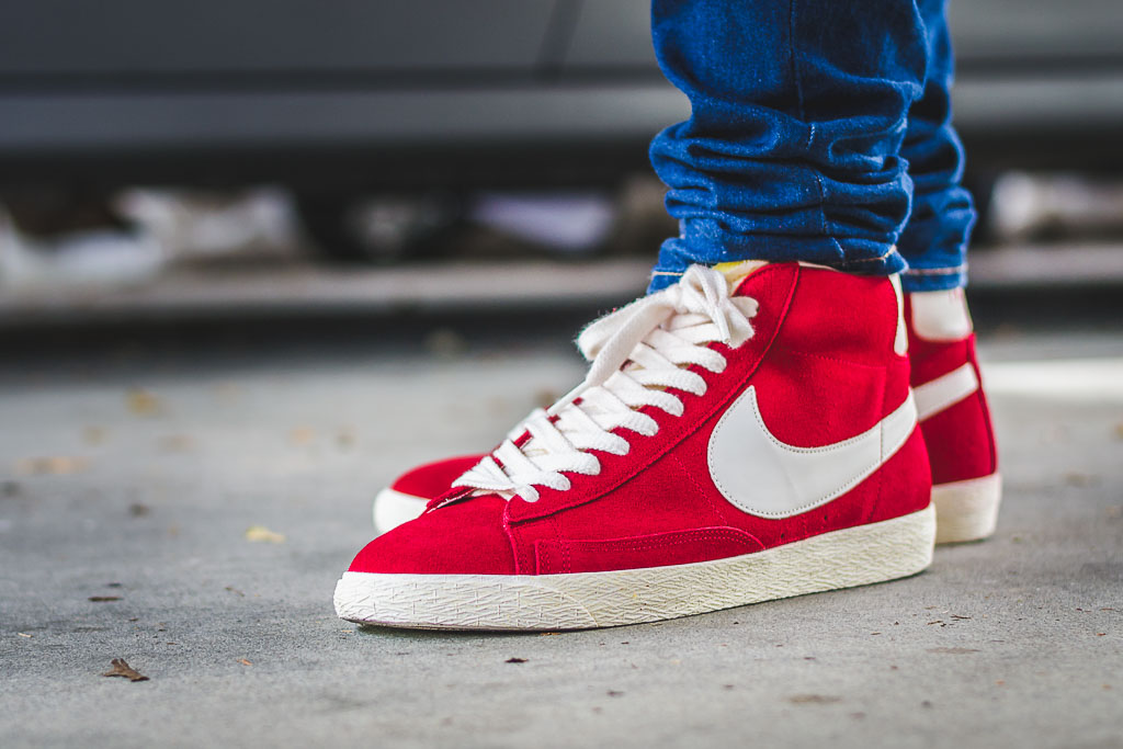 detailed look fdde5 40a81 Nike Blazer Hi Varsity Red On Feet on foot photo