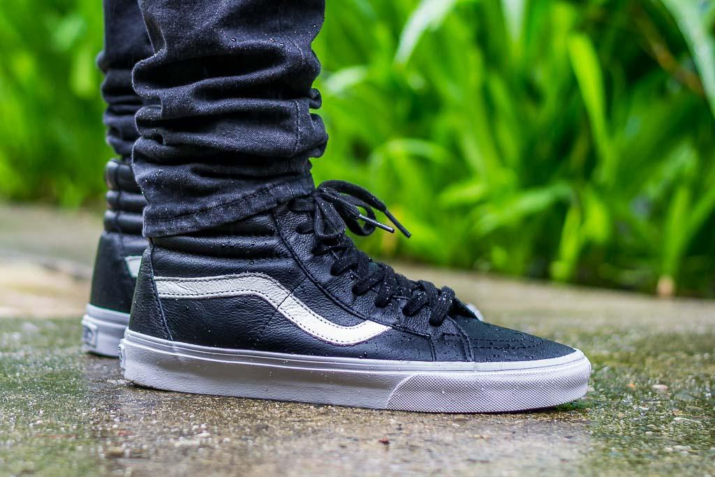 Vans Sk8-Hi Premium Leather Black On Feet on foot photo