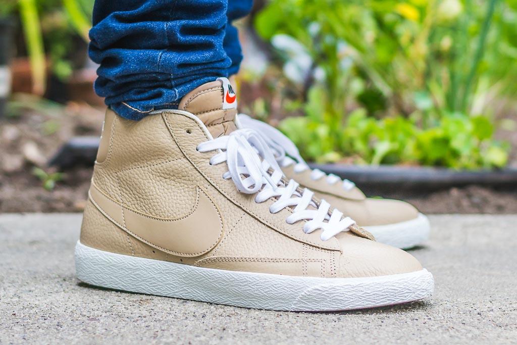 Nike Blazer Mid Linen On Feet on foot photo
