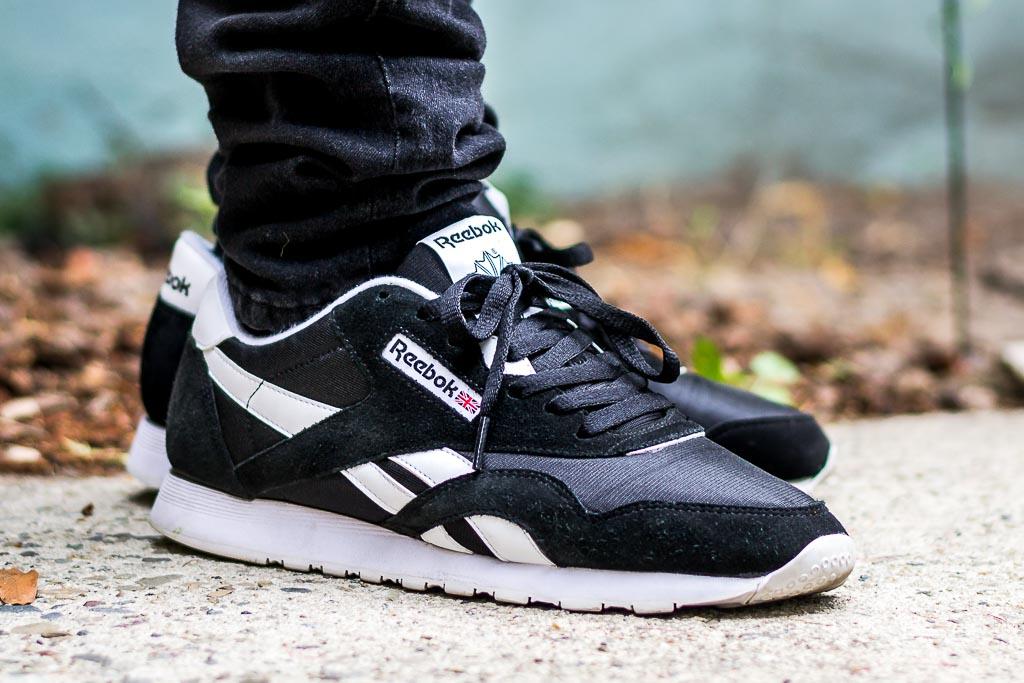 edefdcefa18b8 Reebok Classic Nylon Black White On Feet Sneaker Review