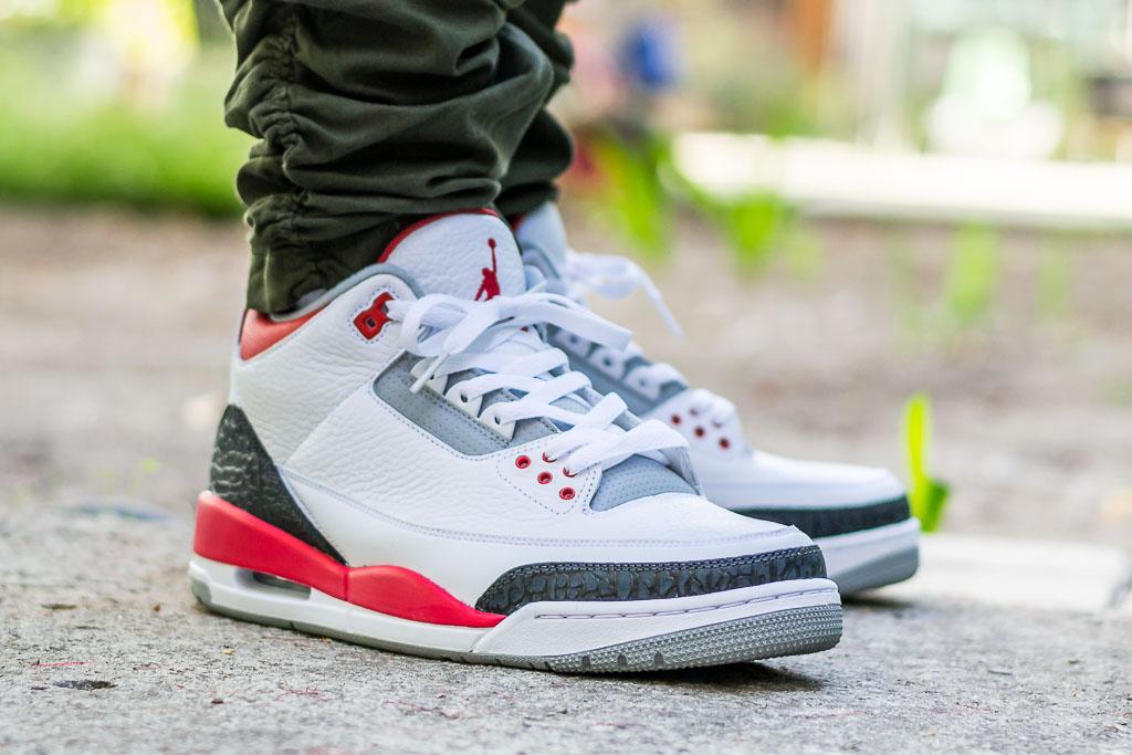 2013 Air Jordan 3 Fire Red On Feet Sneaker Review