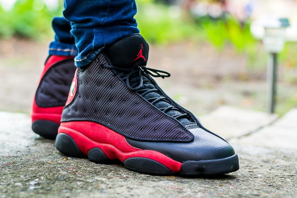 Air Jordan 13 Black Red On Feet on foot photo
