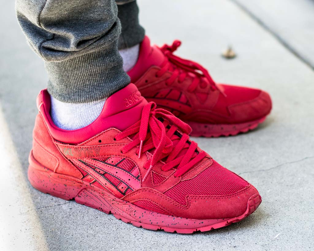 Asics Gel Lyte V Red on Red On Feet