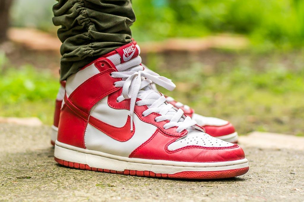 promo code 998f8 54d2c Rain Beaters: 2003 Nike Dunk High Varsity Red On Feet