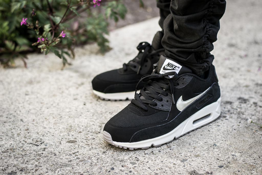 c969a47bb4 Air Max 90 Essential Black & Silver On Feet Sneaker Review