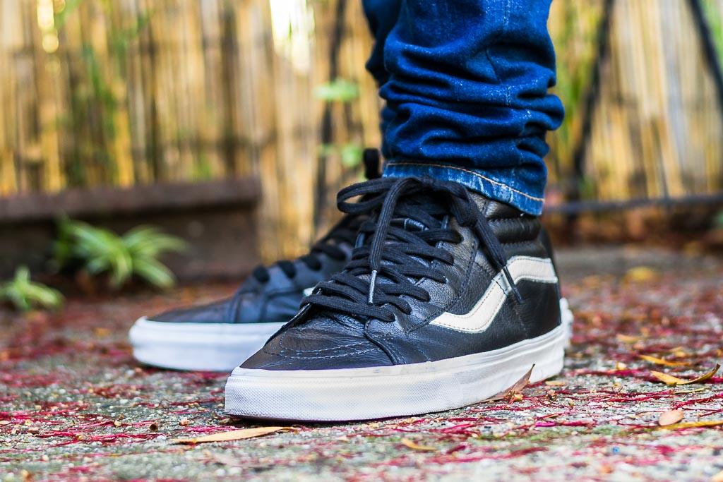 f409de6dea Vans Sk8-Hi Premium Leather Black On Feet Sneaker Review