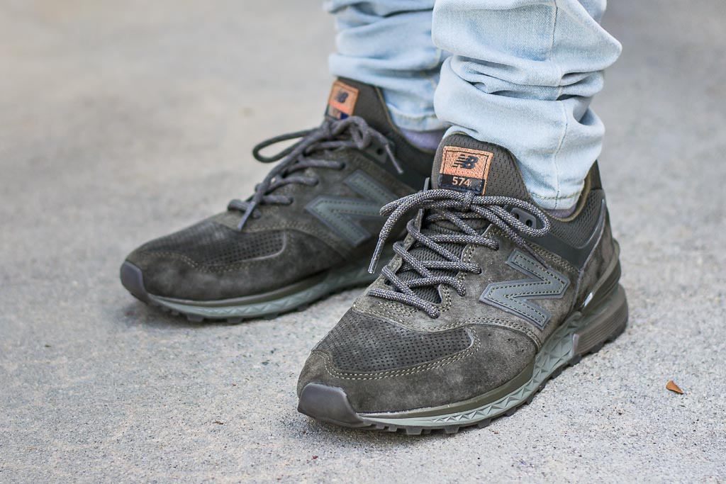 brand new 11f0d 63a5e New Balance 574 Sport Suede Olive On Feet Sneaker Review