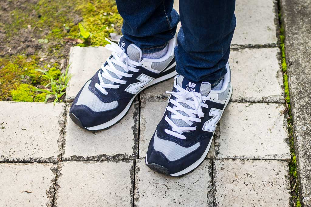 half off 42f43 4e6e8 New Balance 574 Navy & Grey M574BGS On Foot Sneaker Review