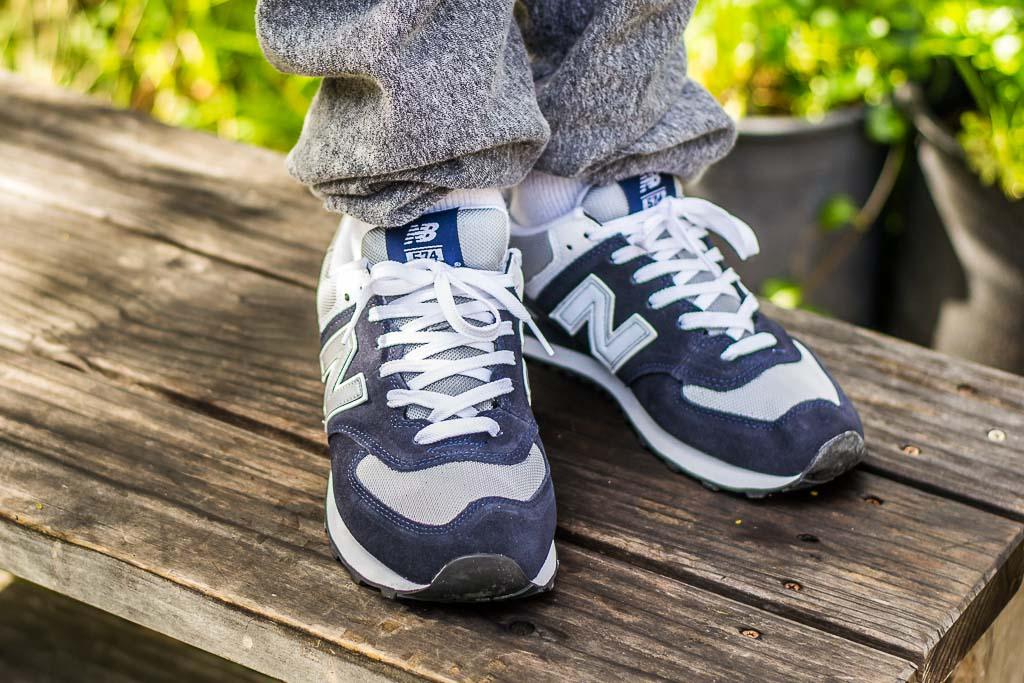cobre petróleo crudo Ministerio  New Balance 574 Navy & Grey M574BGS On Foot Sneaker Review
