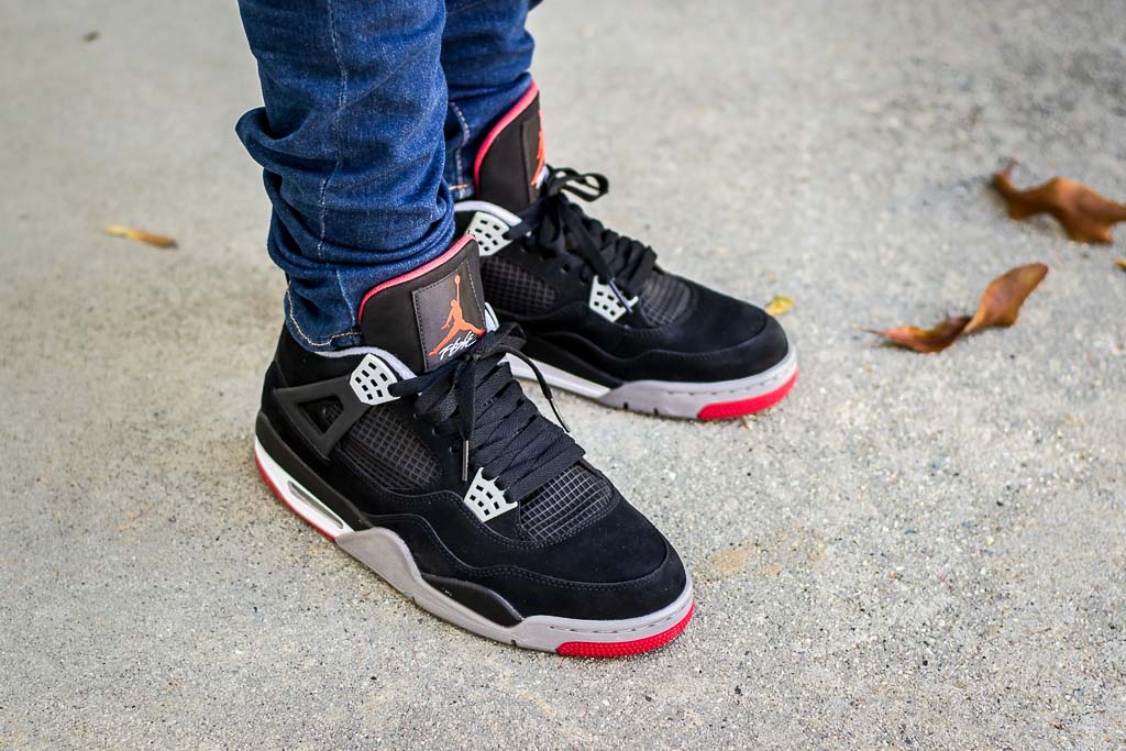 uk availability b7268 32502 Air Jordan 4 Bred - Black/Red - On Foot Sneaker Review