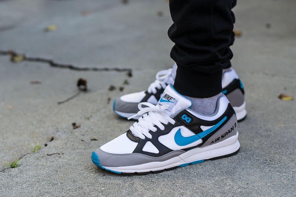 Nike Air Span II Laser Blue On Feet
