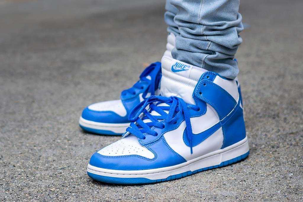 Nike Dunk High LE Carolina On Feet