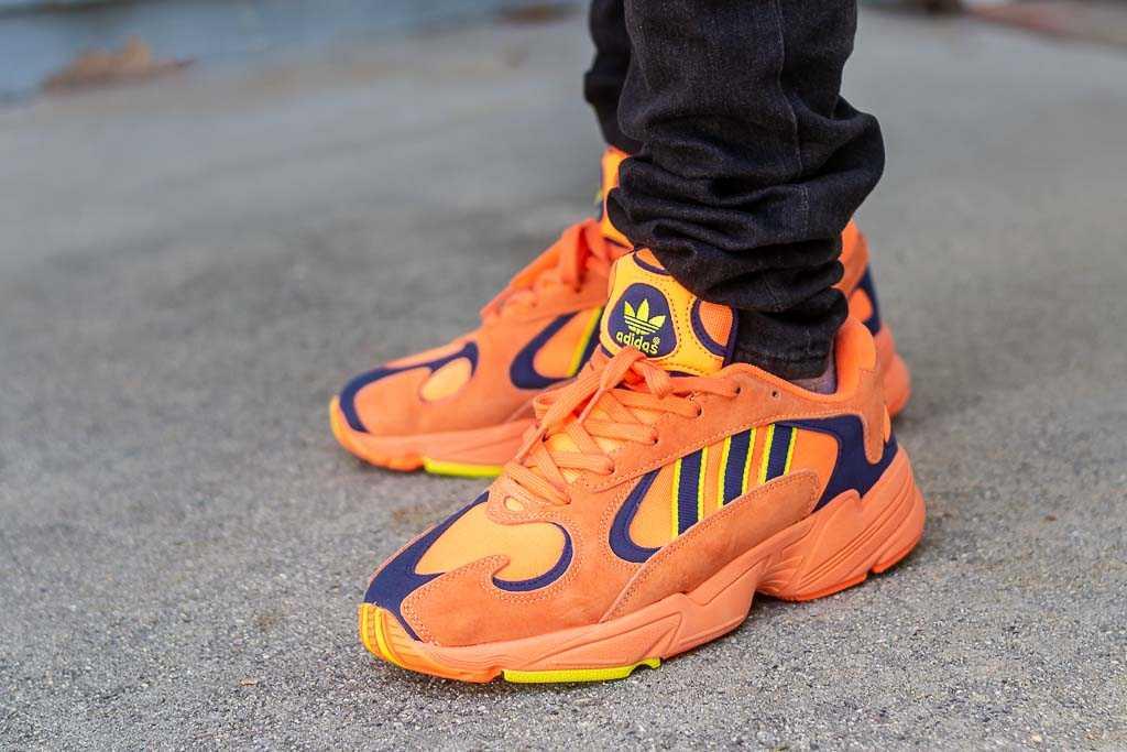 da63861cc5022 Adidas Yung 1 Hi Res Orange On Foot Sneaker Review