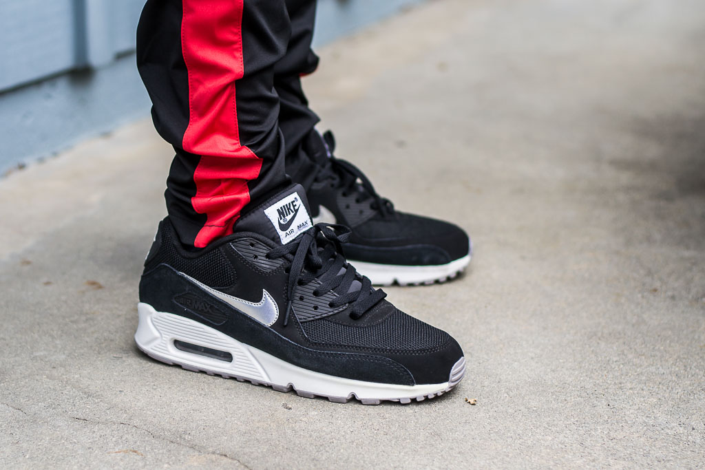 best service df856 b96b5 Air Max 90 Essential Black & Silver On Feet Sneaker Review