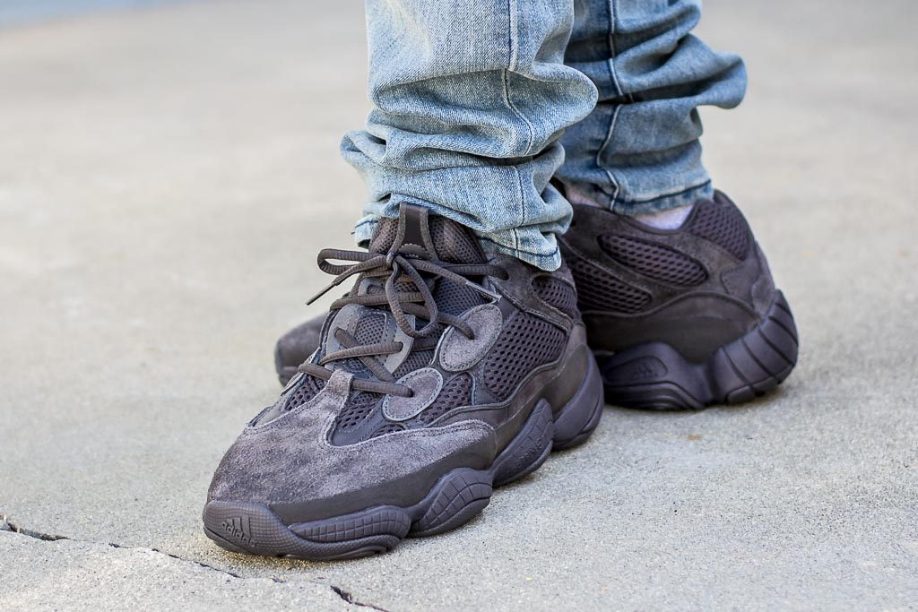 premium selection b6a7a 6665c Adidas Yeezy 500 Utility Black On Feet Sneaker Review
