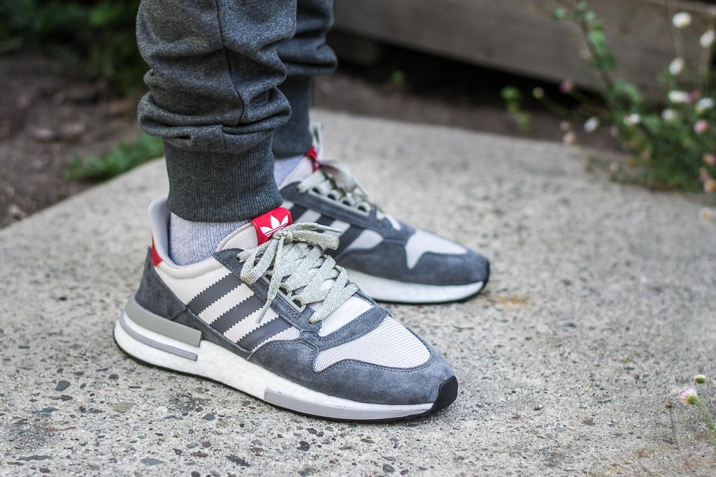 Adidas ZX 500 RM Grey   Scarlet On Foot Sneaker Review 9ed39d89f9