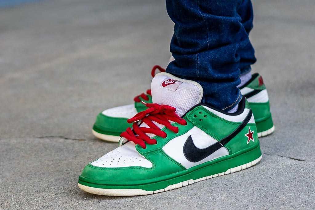 quality design 2a3b9 db795 Nike Dunk Low SB Heineken On Feet Sneaker Review
