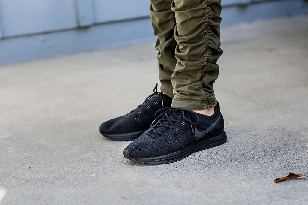 ce487ef13fd6 Nike Flyknit Trainer Triple Black On Feet Sneaker Review