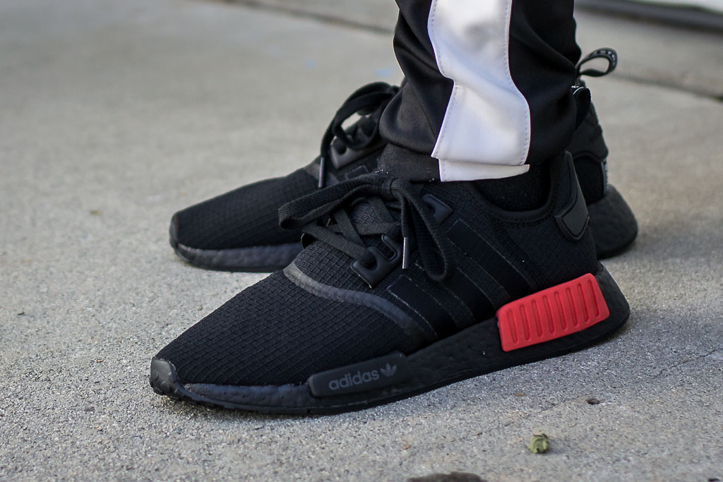 Adidas NMD R1 Bred Ripstop Pack On Feet