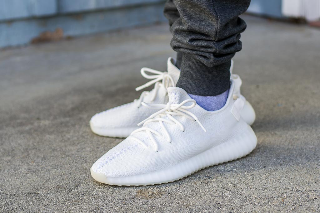 huge discount d324c 4e803 Adidas Yeezy Boost 350 V2 Triple White / Cream On Feet ...