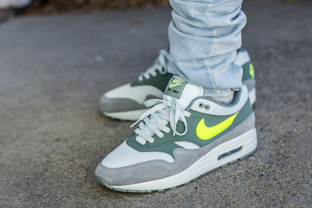 6ca2014fe0aac Nike Air Max 1 Mica Green Volt On Feet Sneaker Review