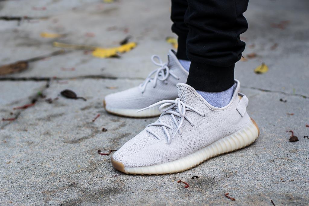 Adidas Yeezy Boost 350 V2 Sesame On Feet Sneaker Review 57dec61c3