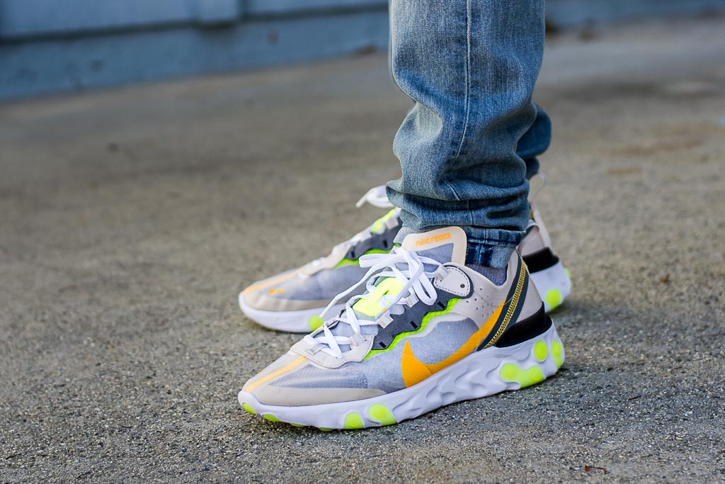 f0d26a42 Nike React Element 87 Light Orewood On Feet Sneaker Review