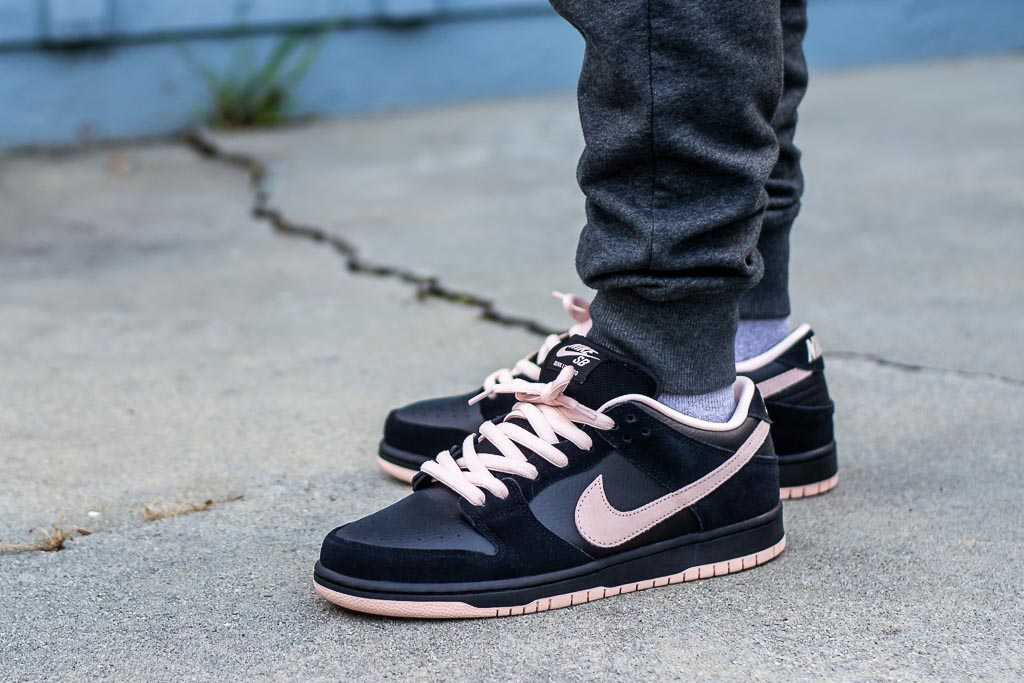 Nike SB Dunk Low Black/Washed Coral On Feet Sneaker Review