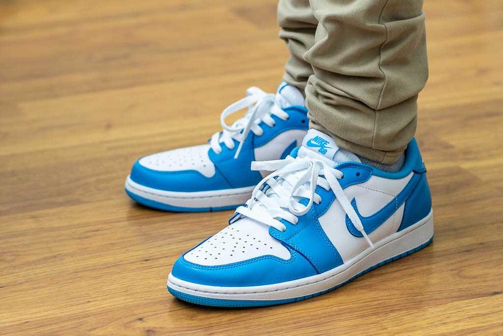 timeless design df427 09518 Nike SB x Air Jordan 1 Low Koston UNC On Feet Sneaker Review
