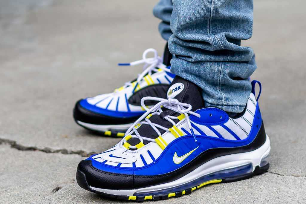 algas marinas factible Cumplimiento a  Nike Air Max 98 Racer Blue On Feet Sneaker Review