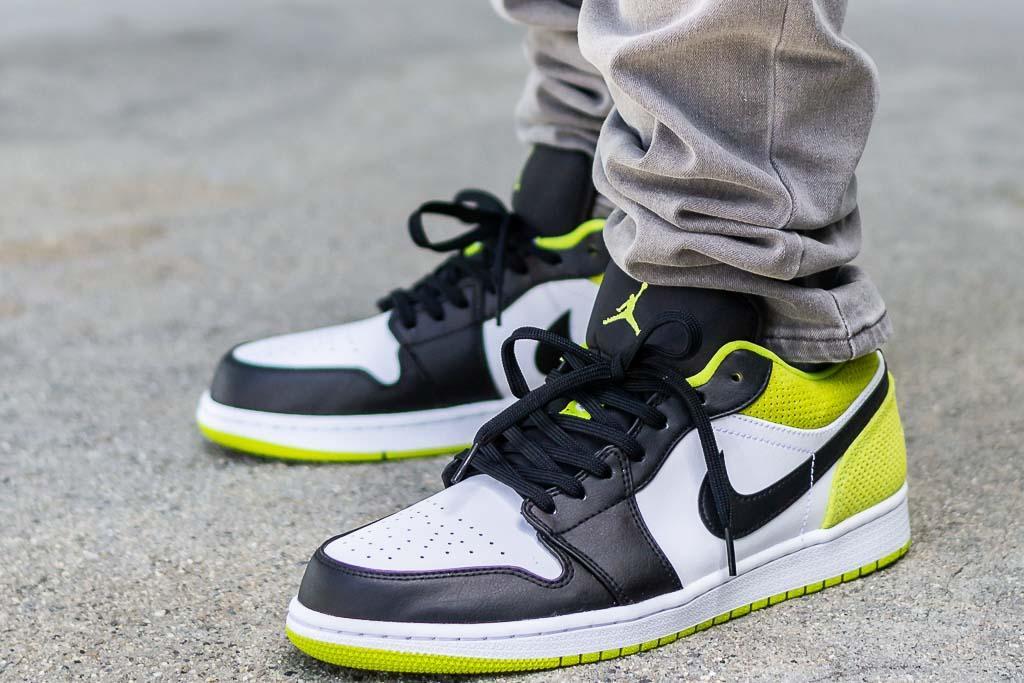 Air Jordan 1 Low Cyber On Feet Sneaker